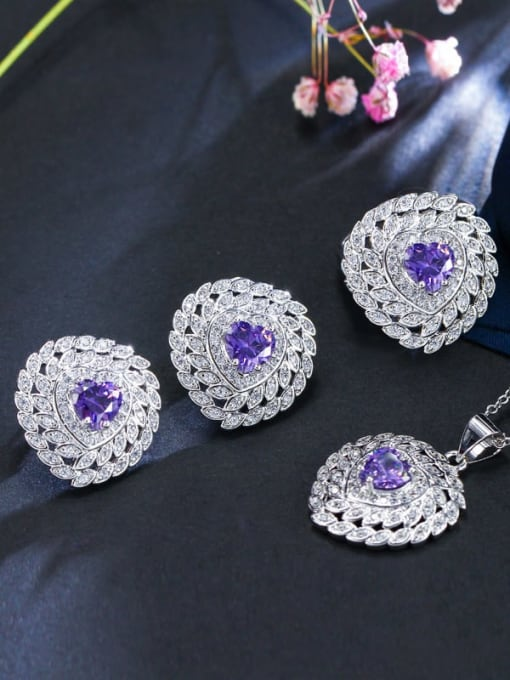 Purple ring size 7 Brass Cubic Zirconia Luxury Heart Earring Ring and Necklace Set