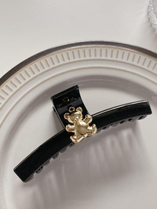 Black 10cm Acrylic Minimalist Geometric Alloy Jaw Hair Claw