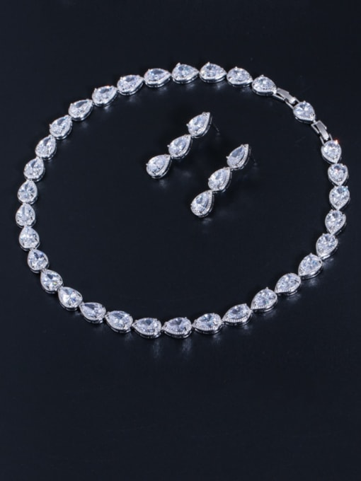 white Brass Cubic Zirconia Luxury Water Drop  Earring and Necklace Set