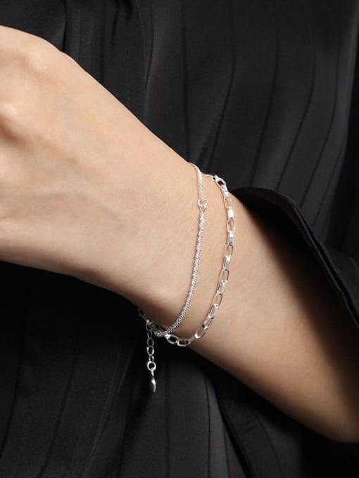 DAKA 925 Sterling Silver Irregular Minimalist Strand Bracelet 3