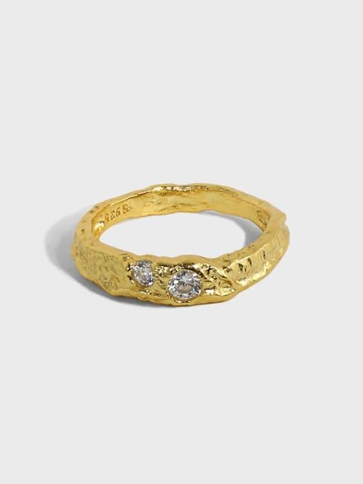 DAKA 925 Sterling Silver Rhinestone Irregular Minimalist Band Ring 0