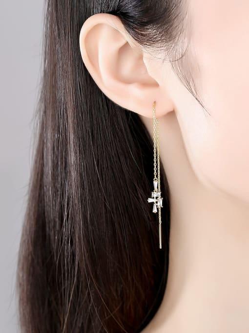 BLING SU Copper Cubic Zirconia Geometric Minimalist Threader Earring 1