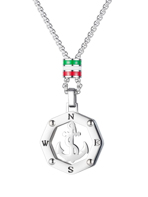 1883 (Pendant with chain beads) Titanium Steel Anchor Hip Hop Necklace