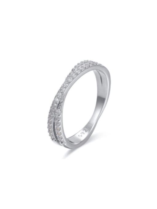 Boomer Cat 925 Sterling Silver Cubic Zirconia Cross Minimalist Stackable Ring 0