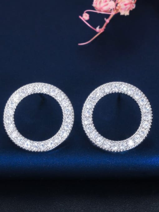White Earrings Brass Cubic Zirconia Luxury Round  Earring and Necklace Set