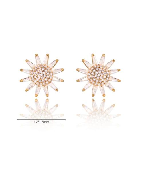 DUDU Brass Cubic Zirconia Sun Flower Luxury Stud Earring 2
