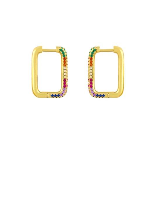 rectangle Brass Cubic Zirconia Heart Vintage Huggie Earring