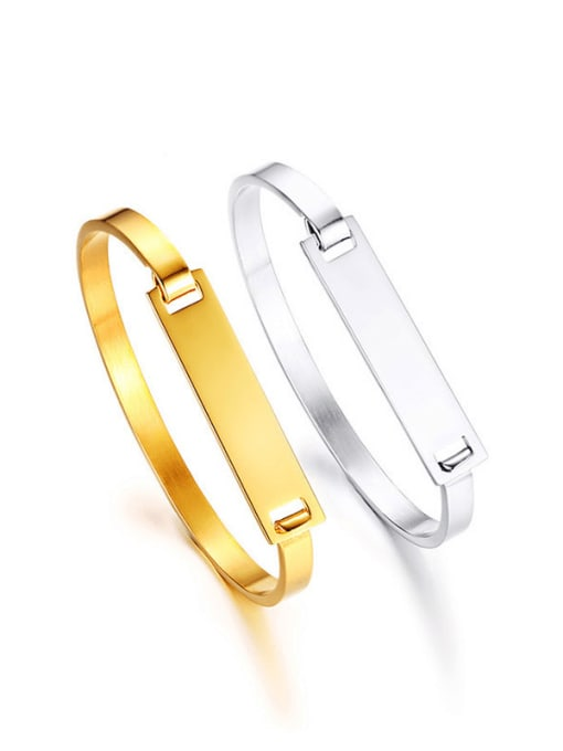 CONG Stainless steel Smooth Geometric Minimalist Band Bangle 0