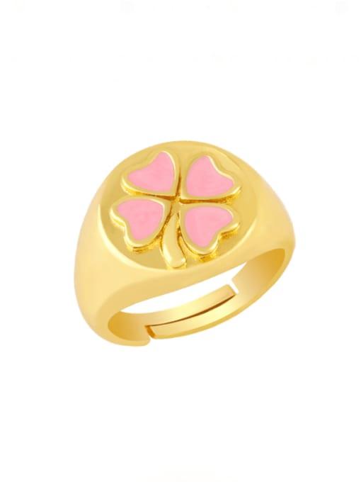 pink Brass Enamel Clover Vintage Band Ring