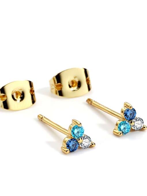 Blue Diamond Gold Earrings Brass Cubic Zirconia Flower Minimalist Stud Earring