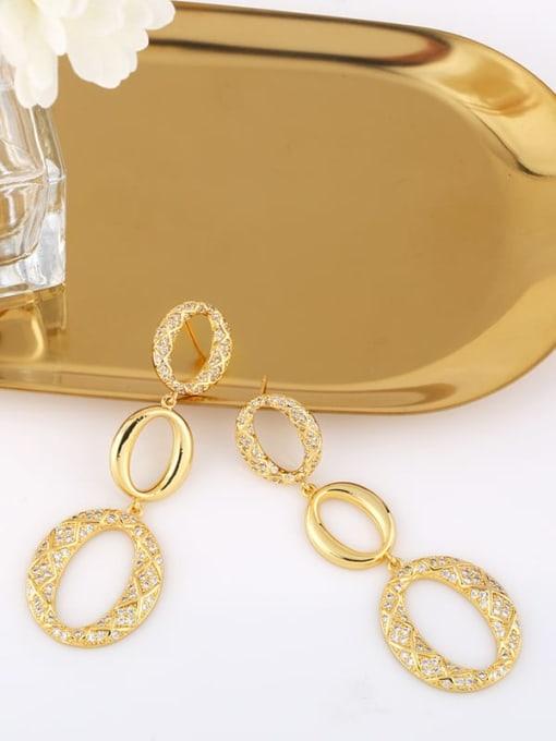 CC Brass Cubic Zirconia Oval Vintage Drop Earring 2