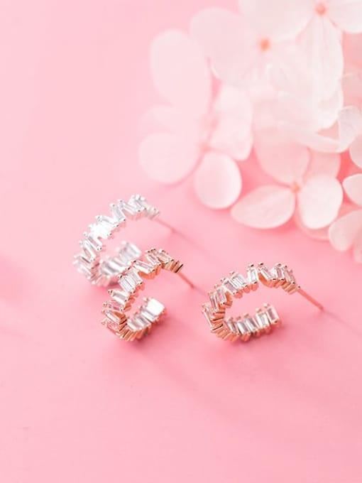 Rosh 925 Sterling Silver Cubic Zirconia Geometric Minimalist Stud Earring