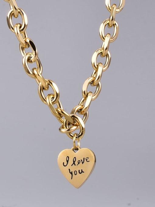 A TEEM Titanium Steel Heart Vintage Geometric  Chain Necklace 0
