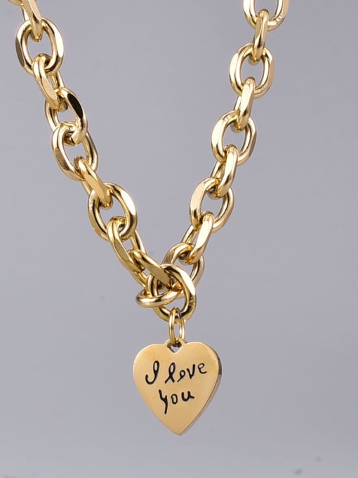 A TEEM Titanium Steel Heart Vintage Geometric  Chain Necklace