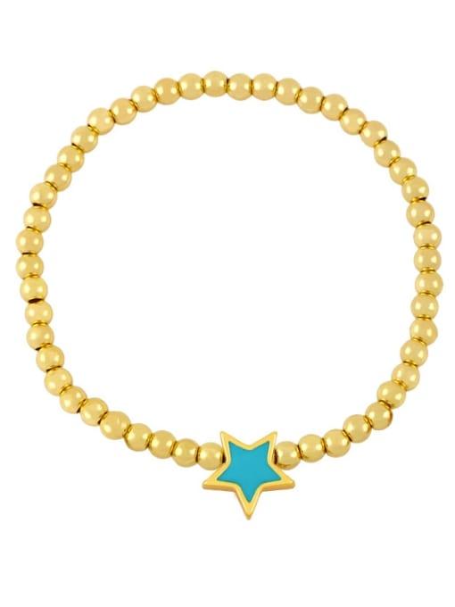 turquoise Brass Enamel Star Vintage Beaded Bracelet