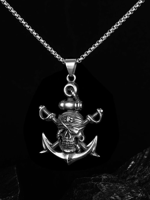 Open Sky Titanium Steel Anchor Hip Hop Necklace 2