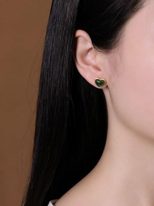 DEER 925 Sterling Silver Jade Heart Vintage Stud Earring 2