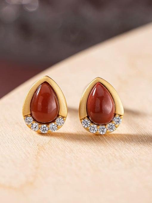 South Red (a pair) 925 Sterling Silver Jade Water Drop Vintage Stud Earring