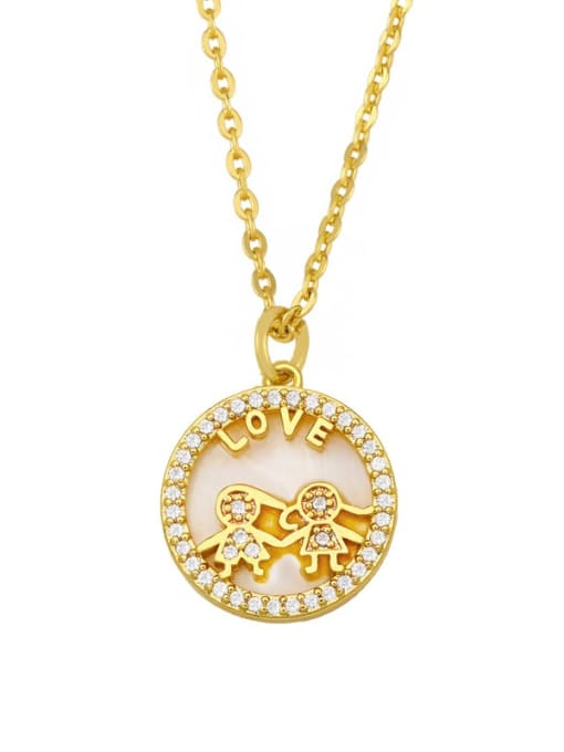 lovers Brass Cubic Zirconia Heart Hip Hop Necklace