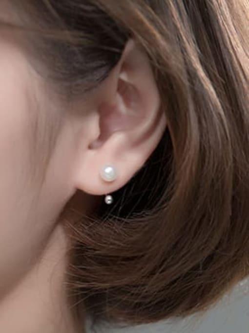 Rosh 925 Sterling Silver Imitation Pearl Irregular Minimalist Clip Earring 2