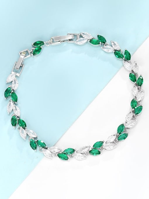 Platinum gold green white zirconium Brass Cubic Zirconia Multi Color Leaf Dainty Bracelet