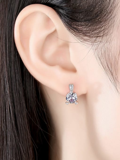 CCUI 925 Sterling Silver Cubic Zirconia Geometric Statement Stud Earring 1