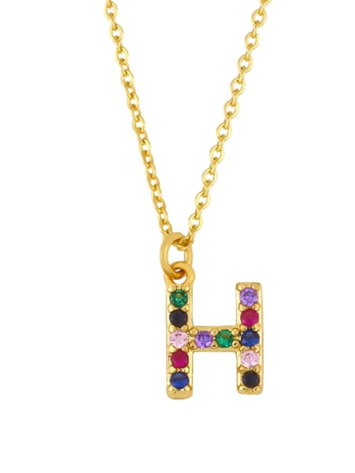 H Brass Cubic Zirconia Letter Vintage Necklace