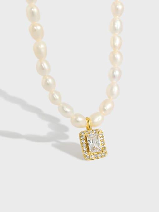 DAKA 925 Sterling Silver Freshwater Pearl Geometric Minimalist Necklace