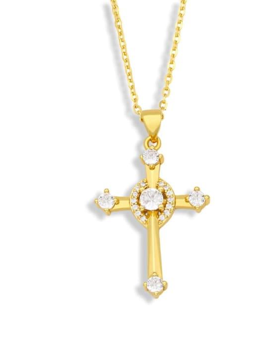 A Brass Cubic Zirconia Cross Vintage Regligious Necklace