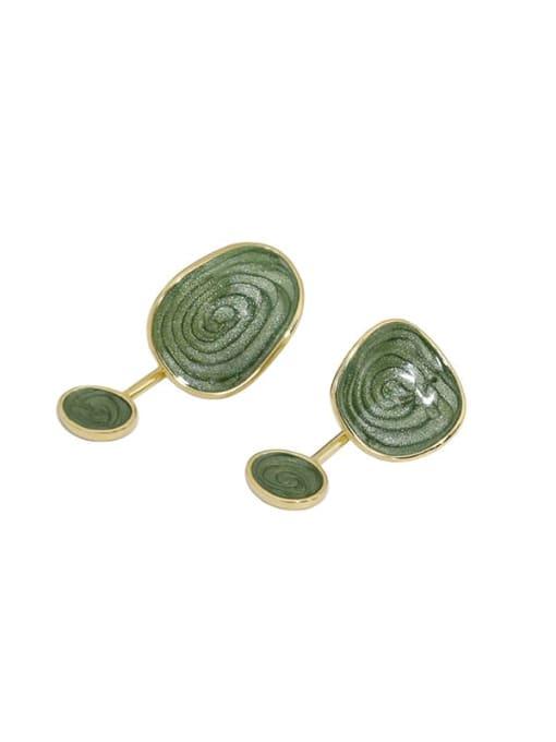 14K gold 925 Sterling Silver Enamel  Asymmetry Geometric Vintage Drop Earring