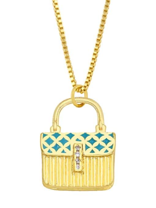 blue Brass Cubic Zirconia Enamel Geometric Minimalist Necklace