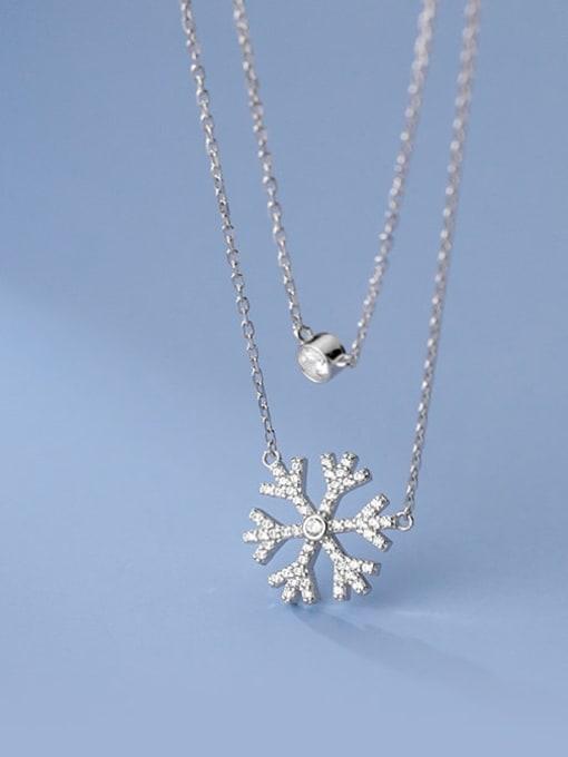 Rosh 925 Sterling Silver Cubic Zirconia Flower Minimalist Multi Strand Necklace 1