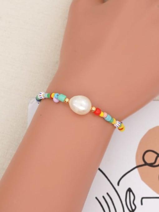 Roxi Stainless steel Freshwater Pearl Multi Color Geometric Bohemia Stretch Bracelet 1