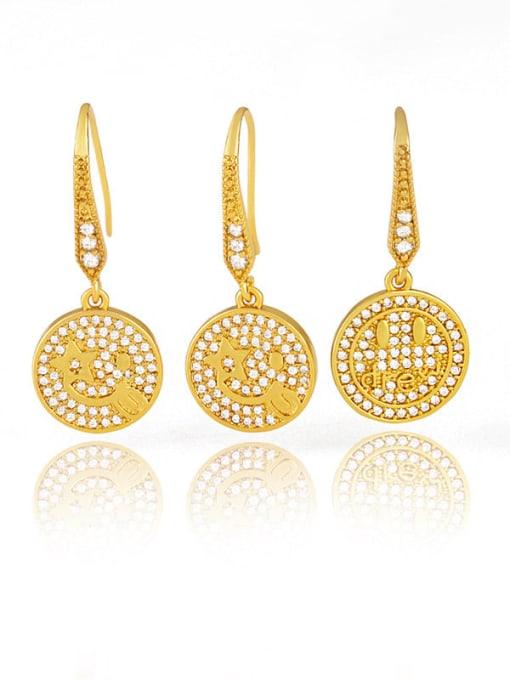 CC Brass Cubic Zirconia Round Hip Hop Hook Earring 0