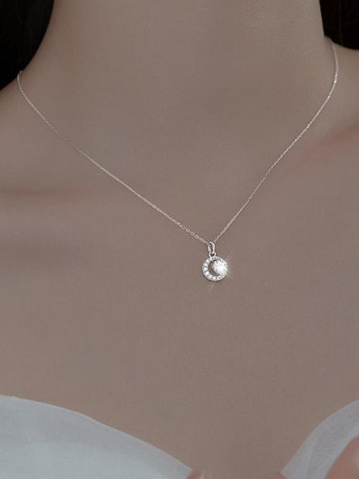 Rosh 925 Sterling Silver Cubic Zirconia Round Minimalist Necklace 1