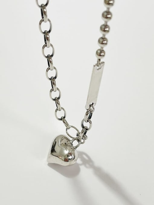 Boomer Cat 925 Sterling Silver Heart Minimalist Hollow Chain Necklace