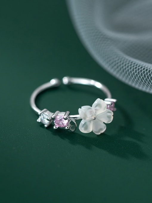 Rosh 925 Sterling Silver Resin Flower Vintage Band Ring 1
