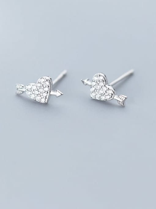Rosh 925 Sterling Silver Cubic Zirconia  Heart Classic Stud Earring