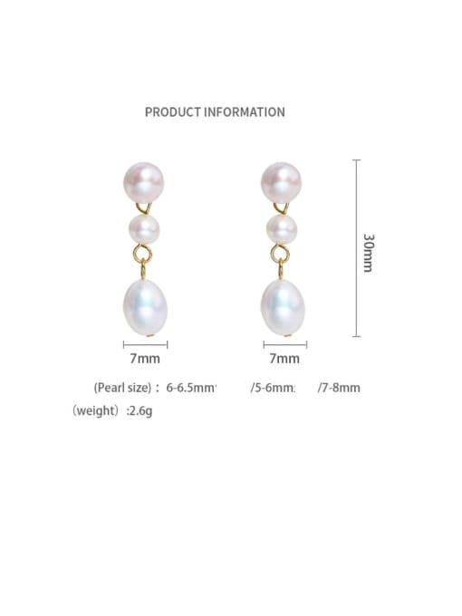 gold Brass Freshwater Pearl Water Drop Minimalist Long Drop Earring