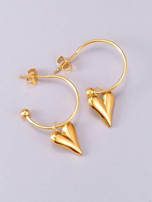 A TEEM Titanium Steel Smooth Heart Minimalist Huggie Earring