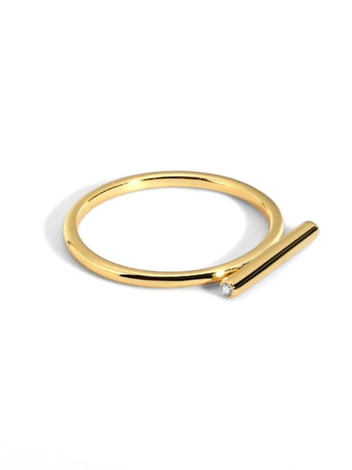golden Brass Smooth Geometric Minimalist Band Ring