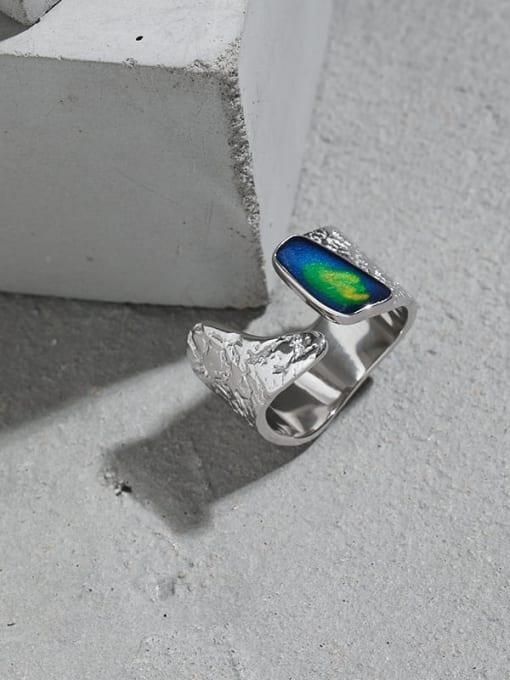 DAKA 925 Sterling Silver Glass Stone Geometric Vintage Band Ring 1