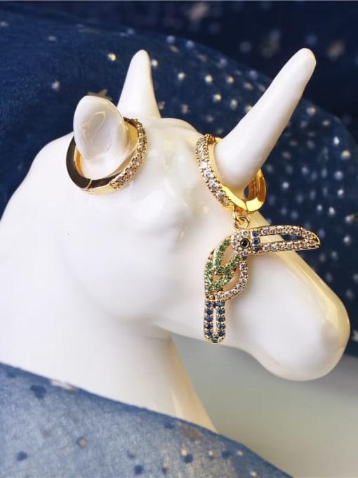 DUDU Brass Cubic Zirconia  Asymmetry Cute  Bird  Huggie Earring 3
