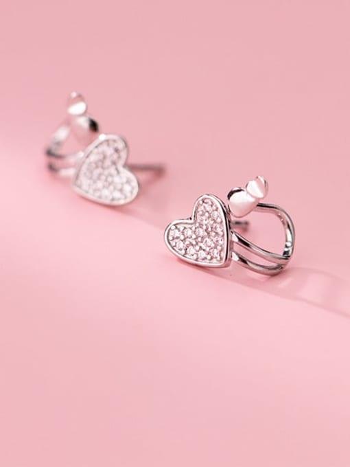 Rosh 925 Sterling Silver Cubic Zirconia Heart Minimalist Huggie Earring 0