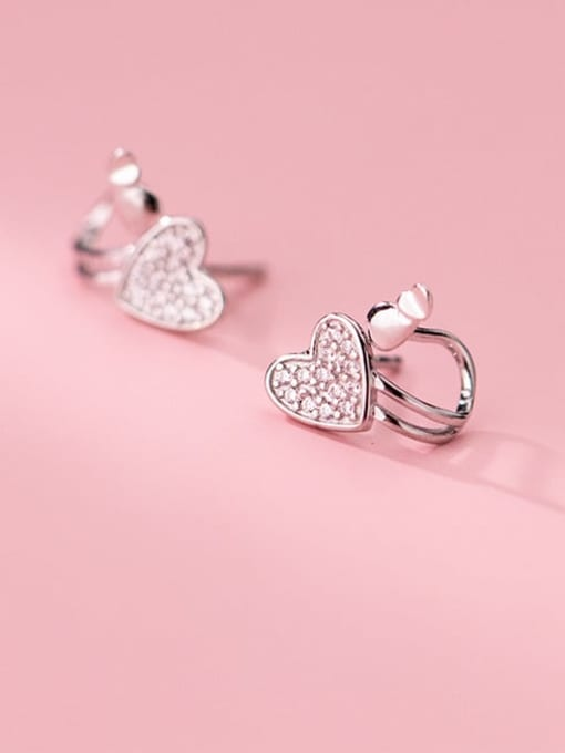 Rosh 925 Sterling Silver Cubic Zirconia Heart Minimalist Huggie Earring