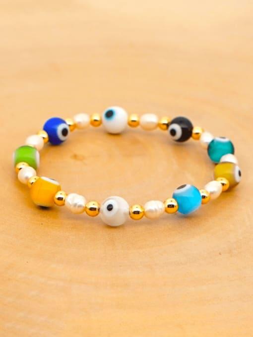 ZZ B200008D Stainless steel MGB Bead Multi Color Evil Eye Bohemia Beaded Bracelet
