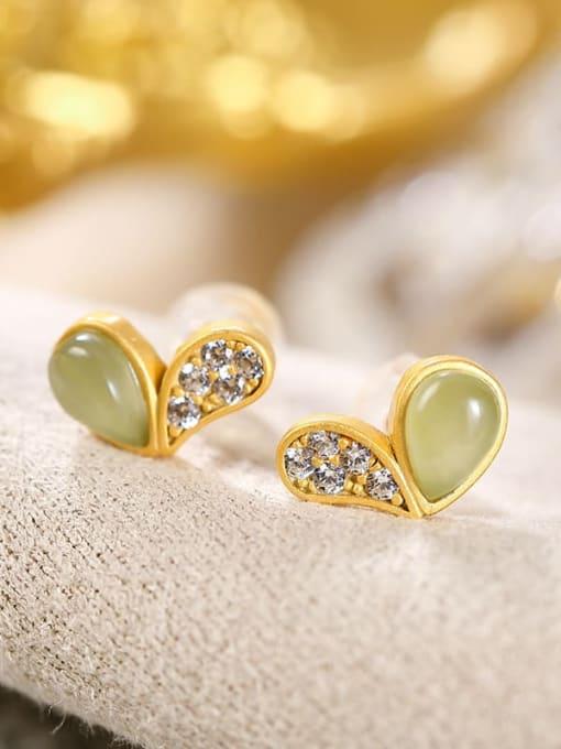 DEER 925 Sterling Silver Jade Heart Vintage Stud Earring 0