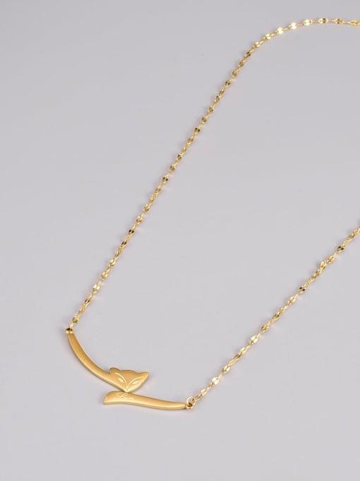 A TEEM Titanium Steel Fox Minimalist Necklace