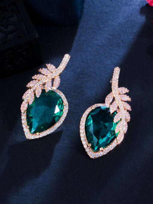 green Brass Cubic Zirconia Leaf Luxury Stud Earring