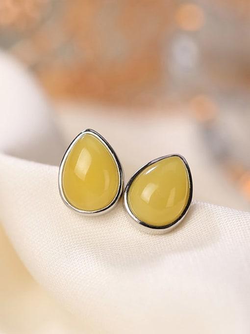 DEER 925 Sterling Silver Opal Oval Vintage Stud Earring 0